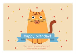 cute cat happy birthday card templates by canva