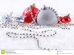 silver and red christmas decorations royalty free stock photo
