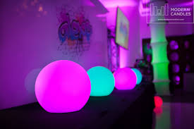 led glow spheres for sweet sixteen at the bath club modern