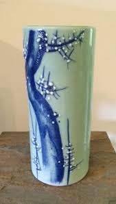 Antique Hand Painted Vases Vintage Hand Painted Japanese Celadon Green And Cobalt Tall