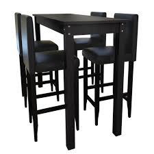 achat bar cuisine ensemble de 1 table et 4pcs tabourets de bar noir pour salle à