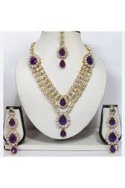 purple stone necklace set images Purple stone 3 line dulhan necklace set jpg