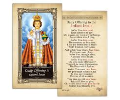 laminated holy cards daily offering to the infant jesus