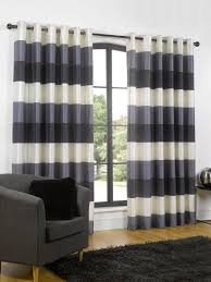 Blue And Striped Curtains Awesome Blue Striped Curtains Bedroom With Ready Made Eyelet