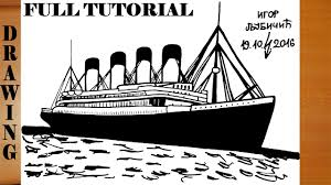 how to draw titanic step by step easy for kids in pencil and color