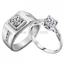 couples wedding rings engraved 1 65 carat synthetic diamond white gold couples wedding