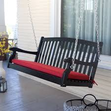 furniture appealing black finished wood porch swing made of eco