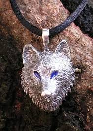 silver wolf pendant necklace images Sterling silver timber wolf pendant with blue eyes western jpg