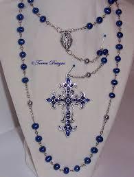 custom rosary custom royal blue pearl rosary by torresdesigns on deviantart