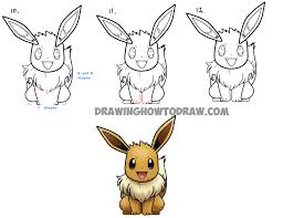 how to draw eevee from pokemon with easy step by step drawing