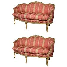 French Settee Loveseat Small French Country Louis Xv Style Carved Walnut Pink Settee