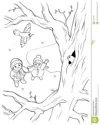 coloring book or page wild bird on the tree and two children