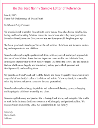 Sample Letter Of Recommendation From Teacher Helping Parents Write Letters Of Reference For Their Nannies U2013