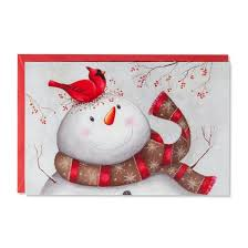 american greetings 14ct folk snowman with cardinal boxed