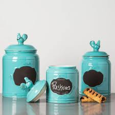 home essentials home essentials beyond aqua ceramic chalkboard canisters set of 3