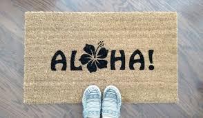 Hawaiian Doormats Aloha With A Flower Custom Doormat By Killer Doormats