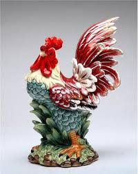 country rooster figurine country ceramic rooster and hand