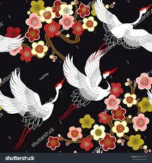 seamless pattern flying birds crane heron stock vector 694475779