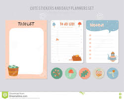 cute daily calendar and to do list template stock vector image