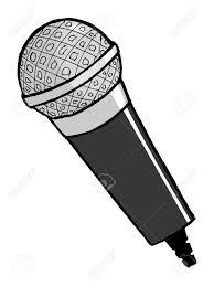 hand drawn cartoon vector illustration of microphone royalty