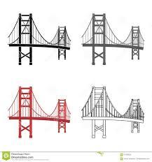 golden gate bridge icon in cartoon style on white background usa