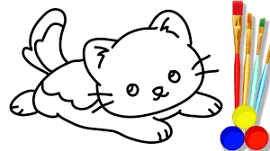 baby pink cat drawing and coloring pages how to draw cute