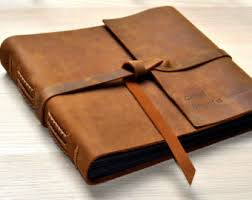 leather bound photo albums brown leather album etsy