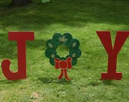 Outdoor Christmas Decorations Joy by Outdoor Christmas Decorations Etsy