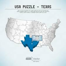 Usa Map Vector by Usa Map Puzzle One State One Puzzle Piece Texas Austin