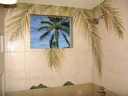 bath and shower designs tile murals with coconut tree palm