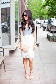 lace skirt day to white lace pencil skirt and grey shirt