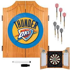 trademark nba oklahoma city thunder wood finish dart cabinet set