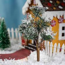 miniature snow covered artificial pine tree miniatures