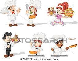 cuisine dessin animé clipart dessin animé chefs cuisine k28931752 recherchez des