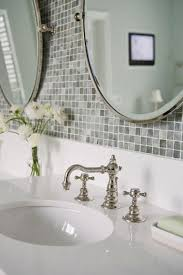 Mosaic Tiled Bathrooms Ideas School Faucet On Bathroom Vanity Gray Mosaic Tile Backsplash