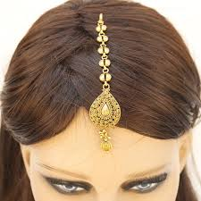 indian ethnic gold plated mang tika