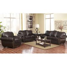 Top Grain Leather Living Room Set Abbyson Living Barrington 3 Pc Top Grain Leather Living Room Set