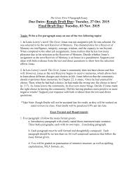 Essay Rough Draft Example The Giver Essay