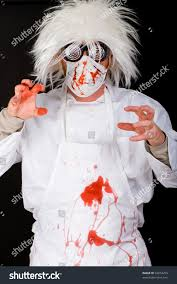 crazy doctor surgeon mask scrubs splattered stock photo 94014259