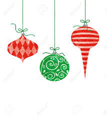 three retro ornaments hanging by green string stock
