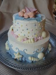 twin baby shower cake with shells and dots cakecentral com