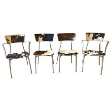Cowhide Upholstery Mid Century Modern Sand Cast Aluminum Set Of Four Chairs In