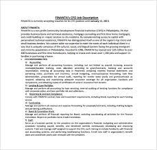 Bookkeeper Job Description For Resume by Cfo Job Description Template U2013 10 Free Word Pdf Format Download