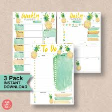 pineapple printable planner pack color crush planner