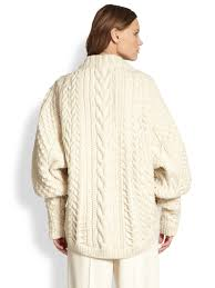 white wool sweater lyst the row wool cableknit blouson sweater in white