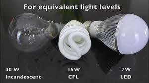 led vs cfl vs incandescent a19 light bulbs youtube
