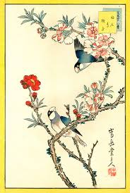 Japanese Flowers Pictures - finches peach blossom sugakudo woodblock prints birds u0026 flowers