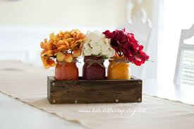 rustic planter box with 3 painted mason jars mothers day
