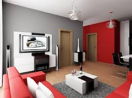 Red And Grey Wall Scheme In Simple Modern Living Room Remppa - Simple modern living room design
