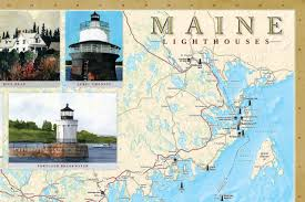 Map Of Maine Cities Maine Lighthouses Illustrated Map U0026 Guide Bella Stander Peter M